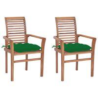 vidaXL Καρέκλες Τραπεζαρίας 2 τεμ. Μασίφ Ξύλο Teak Πράσινα Μαξιλάρια