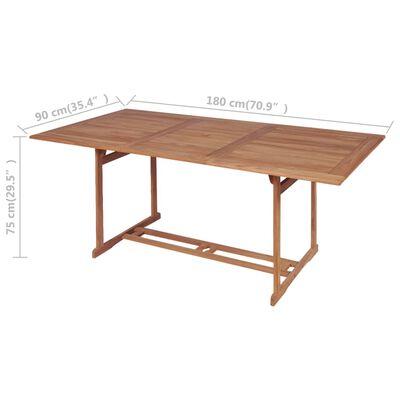 vidaXL Τραπέζι Κήπου 180 x 90 x 75 εκ. από Μασίφ Ξύλο Teak
