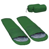 vidaXL Υπνόσακοι Ελαφρείς 2 τεμ. Πράσινοι 15℃ 850 γρ.