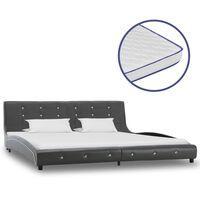vidaXL Κρεβάτι Γκρι 180x200 εκ. Συνθετικό Δέρμα με Στρώμα Αφρού Μνήμης