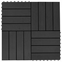 vidaXL Πλακάκια Deck 22 τεμ. Μαύρα 30 x 30 εκ. 2 μ² από WPC