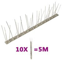 vidaXL 5-row Stainless Steel Bird & Pigeon Spikes Set of 10 5 m