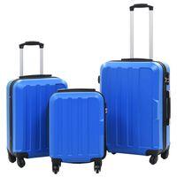 vidaXL Σετ Βαλιτσών Τρόλεϊ με Σκληρό Περίβλημα 3 τεμ. Μπλε από ABS
