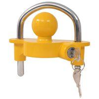vidaXL Κλειδαριά Τρέιλερ Κίτρινη Ατσάλι/Κράμα Αλουμινίου με 2 Κλειδιά