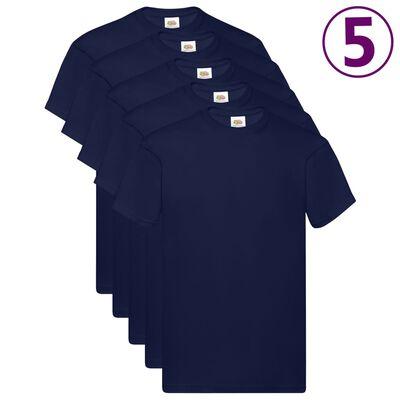 Fruit of the Loom T-shirt Original 5 τεμ. Ναυτικό Μπλε 5XL Βαμβακερά