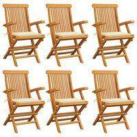 vidaXL Καρέκλες Κήπου 6 τεμ. από Μασίφ Ξύλο Teak με Κρεμ Μαξιλάρια