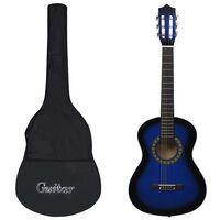 "vidaXL Κλασική Κιθάρα για Αρχάριους & Παιδιά Μπλε 1/2 34"" με Θήκη"