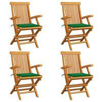 vidaXL Καρέκλες Κήπου 4 τεμ. από Μασίφ Ξύλο Teak με Πράσινα Μαξιλάρια