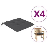 vidaXL Μαξιλάρια Καρέκλας 4 τεμ. Ανθρακί 50 x 50 x 7 εκ. Υφασμάτινα