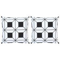 vidaXL Μαξιλάρια 2 τεμ. Μαύρο/Λευκό με Τύπωμα 40 x 40 εκ. Βαμβακερά