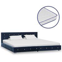 vidaXL Κρεβάτι Μπλε 180 x 200 εκ. Βελούδινο με Στρώμα Αφρού Μνήμης