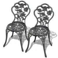 vidaXL Καρέκλες Bistro 2 τεμ. Πράσινες από Χυτό Αλουμίνιο