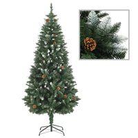 vidaXL Χριστουγεννιάτικο Δέντρο 180 εκ. με Κουκουνάρια/Λευκό Γκλίτερ