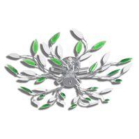 Φωτιστικό Οροφής με Βραχίονες Φύλλων Πράσινο & Λευκό 5 Λαμπτήρες E14