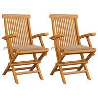 vidaXL Καρέκλες Κήπου 2 τεμ. από Μασίφ Ξύλο Teak με Μπεζ Μαξιλάρια