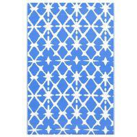 vidaXL Χαλί Εξωτερικού Χώρου Μπλε/Λευκό 120 x 180 εκ. Πολυπροπυλένιο