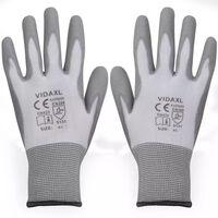 vidaXL Γάντια Εργασίας 24 Ζεύγη Λευκό/Γκρι Μέγεθος 9/L Πολυουρεθάνη