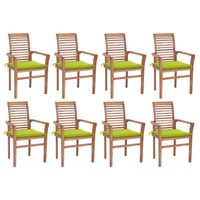 vidaXL Dining Chairs 8 pcs with Bright Green Cushions Solid Teak Wood (2x44665+2x314027)