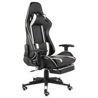 vidaXL Καρέκλα Gaming Περιστρεφόμενη με Υποπόδιο Λευκή από PVC