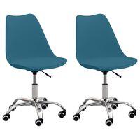 vidaXL Καρέκλες Γραφείου 2 τεμ. Τιρκουάζ από Συνθετικό Δέρμα