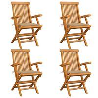 vidaXL Καρέκλες Κήπου 4 τεμ. από Μασίφ Ξύλο Teak με Μπεζ Μαξιλάρια