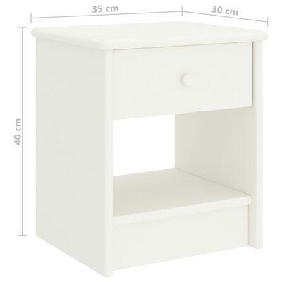 vidaXL Κομοδίνο Λευκό 35 x 30 x 40 εκ. Μασίφ Ξύλο Πεύκου