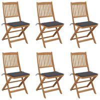 vidaXL Καρέκλες Κήπου Πτυσσόμενες 6 τεμ. από Ξύλο Ακακίας με Μαξιλάρια