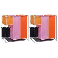 vidaXL Καλάθια Διαχωρισμού Απλύτων με 3 Τμήματα 2 τεμ. + Καλάθι Πλύσης