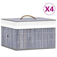 vidaXL Κουτιά Αποθήκευσης 4 τεμ. Γκρι από Μπαμπού