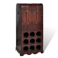 vidaXL Ραφιέρα Κρασιών με Αποθηκευτικό Χώρο για 9 Μπουκάλια Ξύλινη