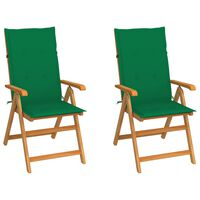 vidaXL Garden Chairs 2 pcs with Green Cushions Solid Teak Wood (43029+43185)