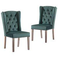vidaXL Καρέκλες Τραπεζαρίας 2 τεμ. Σκούρο Πράσινο Βελούδινες