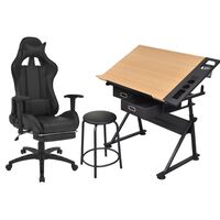 vidaXL Τραπέζι Σχεδιαστήριο με Ανακλινόμενη Επιφάνεια & Καρέκλα Racing