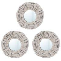 vidaXL Καθρέφτες 3 τεμ. Λευκοί 15 εκ. από Wicker