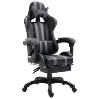 vidaXL Καρέκλα Gaming με Υποπόδιο Γκρι από Συνθετικό Δέρμα
