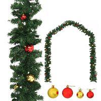 vidaXL Γιρλάντα Χριστουγεννιάτικη Στολισμένη με Μπάλες 10 μ.