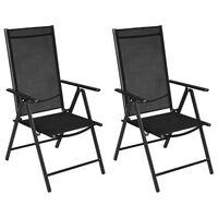 vidaXL Καρέκλες Κήπου Πτυσσόμενες 2 τεμ. Μαύρες Αλουμίνιο / Textilene