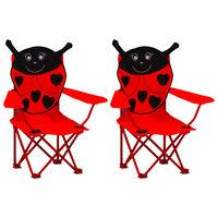 vidaXL Καρέκλες Παιδικές Κήπου 2 τεμ. Κόκκινες Υφασμάτινες
