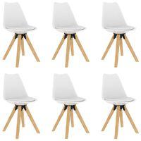 vidaXL Καρέκλες Τραπεζαρίας 6 τεμ. Λευκές Πολυπροπυλ./Μασίφ Ξύλο Οξιάς