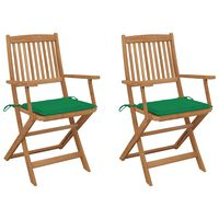 vidaXL Καρέκλες Κήπου Πτυσσόμενες 2 τεμ Μασίφ Ξύλο Ακακίας & Μαξιλάρια
