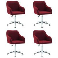 vidaXL Καρέκλες Τραπεζαρίας Περιστρεφόμενες 4 τεμ. Μπορντό Υφασμάτινες