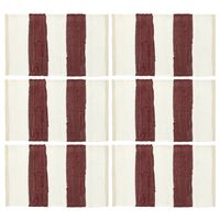 vidaXL Σουπλά Chindi 6 τεμ. Ριγέ Μπορντό / Λευκό 30 x 45 εκ.