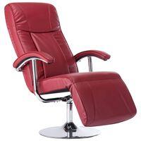 vidaXL Πολυθρόνα με Υποπόδιο Μπορντό από Συνθετικό Δέρμα