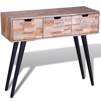 vidaXL Κονσόλα Τραπέζι με 3 Συρτάρια από Ανακυκλωμένο Ξύλο Teak