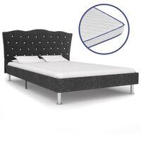 vidaXL Κρεβάτι Σκούρο Γκρι 140x200 εκ Υφασμάτινο + Στρώμα Αφρού Μνήμης