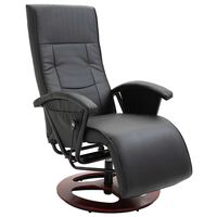 vidaXL Πολυθρόνα Περιστρεφόμενη Μαύρη από Συνθετικό Δέρμα