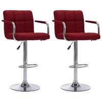 vidaXL Καρέκλες Μπαρ 2 τεμ. Μπορντό Υφασμάτινες