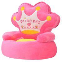 """vidaXL Πολυθρόνα Παιδική """"Πριγκίπισσα"""" Ροζ Λούτρινη"""