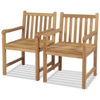 vidaXL Καρέκλες Κήπου 2 τεμ. από Μασίφ Ξύλο Teak