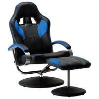 vidaXL Καρέκλα Gaming Ανακλινόμενη Μπλε Συνθετικό Δέρμα με Υποπόδιο